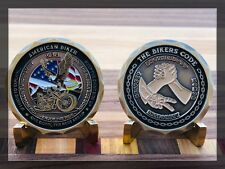 "MOTORCYCLE CHALLENGE COIN ""THE BIKERS CODE"" BROTHERHOOD HONOR RESPECT INTEGRITY"