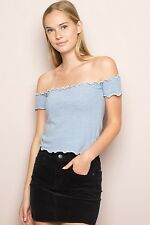 brandy melville Blue/white Striped cropped ribbed off shoulder jessie top NWT