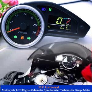 12V Motorcycle LCD Digital Odometer Speedometer Tachometer Gauge Meter Sensor