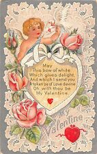 My Valentine greetings child with hearts dove & pink roses antique pc (Z4121)