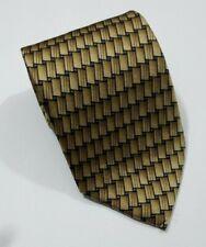 Ziggurat By Mulberry Neckwear  Gold and Black Geometric Printed Silk Tie