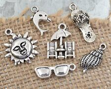 6 BEACH Charms Tibetan Silver By the Sea Charm Collection Set Lot US Seller