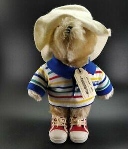 "Paddington Bear 1981 Plush Tan teddy White Hat Rare Has Tag 13"" Vintage"