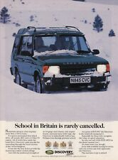 """1996 Land Rover Discovery in Snow photo """"School is Rarely Cancelled"""" print ad"""