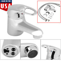 Bathroom Sink Basin Faucet Chrome Finish Waterfall Spout Single Handle Mixer Tap