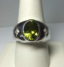 Brand New Sterling Silver Genuine Oval 10mm x 8mm Peridot & Diamond Man's Ring