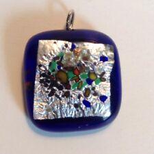 "Cobalt Blue Art Pendant Silver Foil / Multicolor Modern  Abstract Design 1"""
