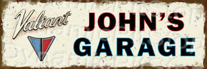 60x20cm Valiant Garage Custom Personalised Rustic Tin Sign or Decal, Man Cave