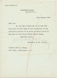 Two Letters Concerning a Marine Corps Band Concert - Presidents Wilson & Hoover