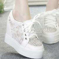 Womens casual lace up mesh lace rhinestones hidden wedge heel sneaker shoes