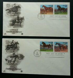 [SJ] USA Horses 1985 Animal Fauna Mammals Games (stamp FDC 2's)