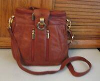 Brown Cowhide Leather PURSE Shoulder Bag Unique Style Handbag Hobo Satchel