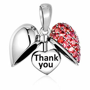 Thank You Charm - Red Heart Bead S925 Silver - Nhs Key Worker Carer Teacher Gift