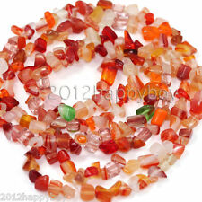 50PCS Red Semi Precious Natural Irregular Stone Tumble Chip Beads 5-9mm