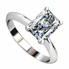 18kt G/H SI 2.00ct Solitaire Radiant Cut Diamond Engagement Ring Certified