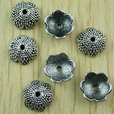 25 dark silver-tone studded flower charms findin h1525