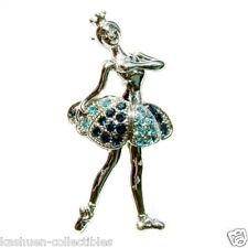 w Swarovski Crystal  Blue BALLERINA Fairy Angel BALLET DANCER Dancing Pin Brooch