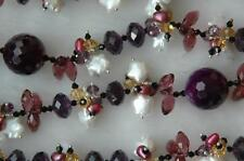 Star Shaped Pearl, Mixed / Purple Crystal Bead Necklace