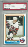 1986 Topps hockey card #78 Tomas Jonsson, New York Islanders graded PSA 9