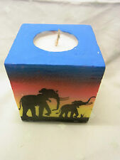 Swazi Kerze Sunset Elefanten Savanne Afrika  Fair Trade 9 x 9 cm