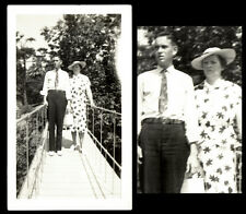 NERVOUS GULLIBLE COUPLE on DANGEROUS PERSPECTIVE ROPE BRIDGE! 1920s PHOTO!