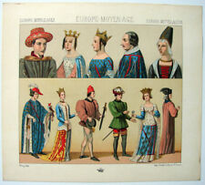 VINTAGE 1800's Color Costume Plate, Fashions of Europe, Middle Ages, 022