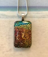Handcrafted Fused Dichroic Glass COLORFUL Pendant Lots of Texture and Dimension