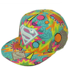 DC Comics Superman Retro Design Flat Bill Hat Cap Super Hero Cartoon Snapback