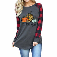 Women Plaid Leopard Fall Y'all Pumpkin Tee Long Sleeve Top Casual T-Shirt