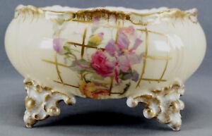 B&H Limoges Pink Rose & Gold Trellis Blush Ivory Ferner Planter Vase Circa 1890s