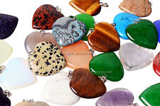 Wholesale 20pcs Big Natural Stone Heart Silver Plated Beads Pendant fit necklace