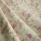 Floral Rose popeline de coton tissu imprimé style vintage Sombre et crème pastel