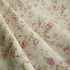 Floral Rose cotton Poplin print Fabric Vintage style dusky pink & cream pastel