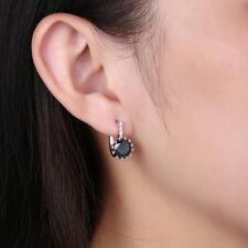 Black Crystal Onyx 24K Yellow Gold Plated Huggies Women Lady Wedding Earrings