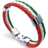 4X(Schmuck Armband, Italienische Flagge Armreif, Leder Legierung, fuer Herren PT