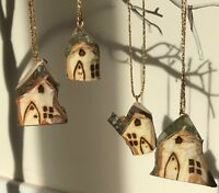 Rustic Carved fairy House garden Tree Decoration Natural Wooden Xmas Hanging