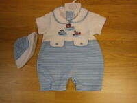 Baby Boys Clothes Romper spanish Style Blue Nautical  0-3 months 3-6  6-9 months