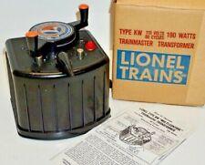 LIONEL VINTAGE WORKING 190 WATT TRANSFORMER TYPE KW WITH BOX & INSTRUCTIONS