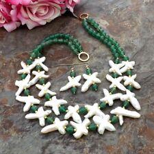 2StrandsWhite Cross freshwater Pearl Green Agate Necklace Earrings Set