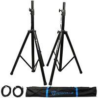 Pair of Rockville Adjustable Tripod Speaker/Light Stands+(2) 20 Foot XLR Cables