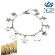 Bracciale donna a maglia con stelle in acciaio inox argento braccialetto da per