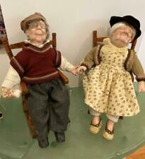 Grandma and Grandpa Vtg Character Dolls Holding Hands 4pc Lot Rocking Chairs