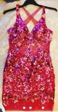 forever unique pink sequin & crystal dress size 10 style like jovani sherri hill