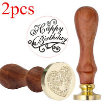 2pcs Happy Birthday Letter Invitation Wax Seal Sealing Stamp Heart Vintage