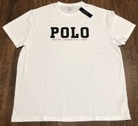 New Men's White Polo Ralph Lauren RL-67 Classic RL Spell Out Cotton T Shirt NWT