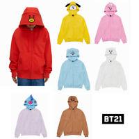 BTS BT21 Official Authentic Goods Hoodies Zip-up Long Sleeve Hooded KPOP