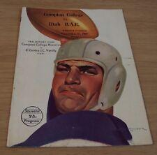 "1947 FOOTBALL 'Souvenir Program'~""COMPTON COLLEGE vs. UTAH B.A.C."" Ramsaur Field"