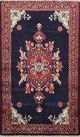 3'x4' Vintage Geometric Hamedan Area Rug Hand-knotted Oriental NAVY BLUE Carpet