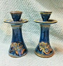"""Pair of Ceramic Stoneware Blue Brown Glaze with Shells Candle Holders 6"""" Tall"""