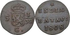 1/2 Duit 1808 Niederlande Ostindien Gelderland, Löwe, Krone #BB158